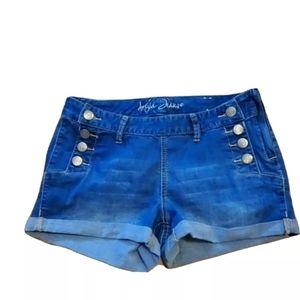 Ariya Jean Shorts Women Size 7/8 Button Blue Denim